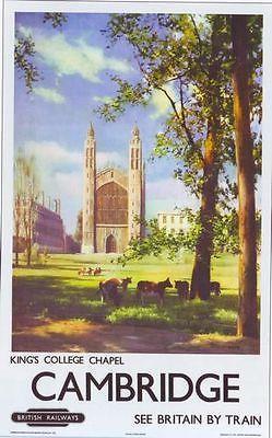 1950's British Railways Cambridge Kings College Poster A3 Print