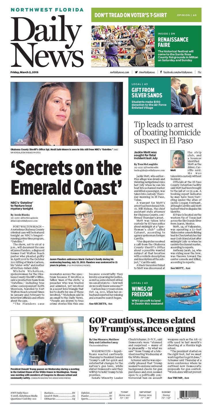 The March 2, 2018 cover of the Northwest Florida Daily News: NBC's 'Dateline' to feature local mystery tonight