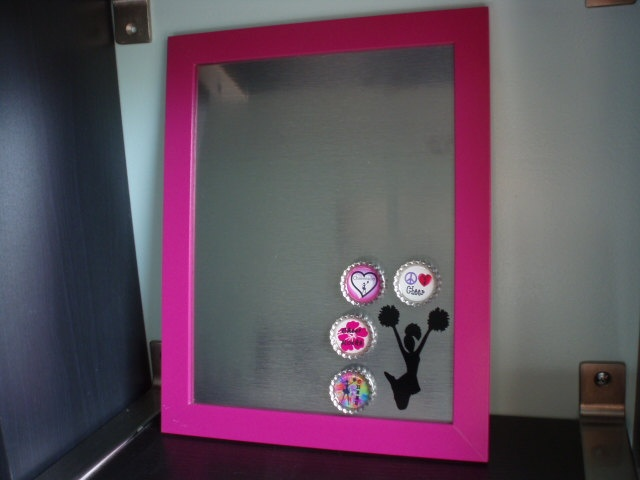 magnetic bulletin board picture frame and 4 matching magnets via etsy