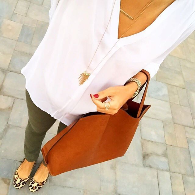 IG @mrscasual <click through to shop this look> White tunic top.  Army green jeans.  Sam Edelman leopard scalloped flats.  Cognac reversible tote bag.  Long gold layered necklaces
