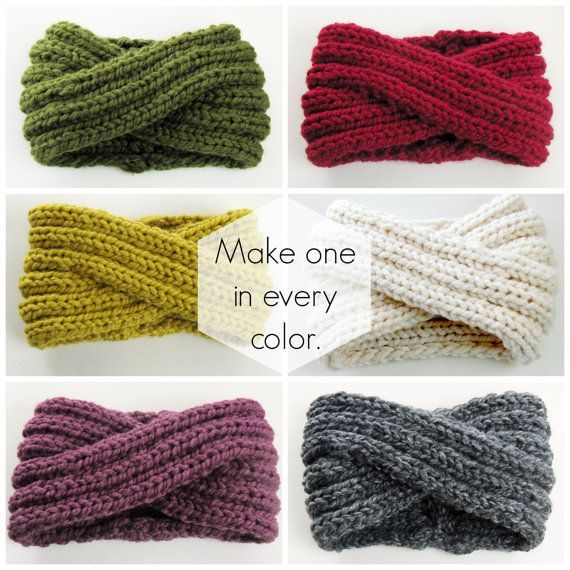 Infinity Headband Knitting Pattern – Ear Warmer Knitting Pattern – Chunky Cowl Knitting Pattern – Chunky Turban Headband – DIY PDF