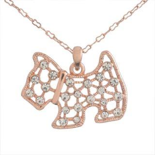 Dog kristályos rose gold nyaklánc