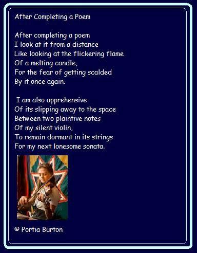 After completing a Poem - © Portia Burton