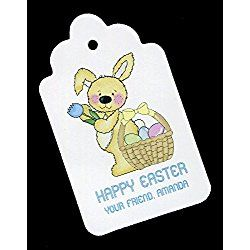 Easter Gift Tags, Bunny with Basket, Personalized Set of 25