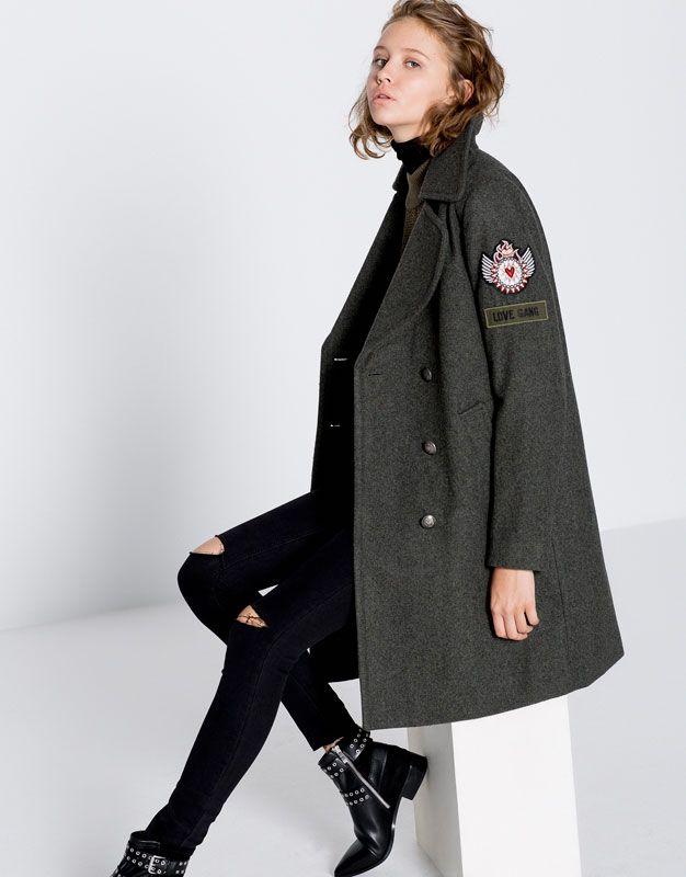 Pull&Bear - femme - vêtements - manteaux et blousons - manteau style militaire - kaki - 09750313-I2016