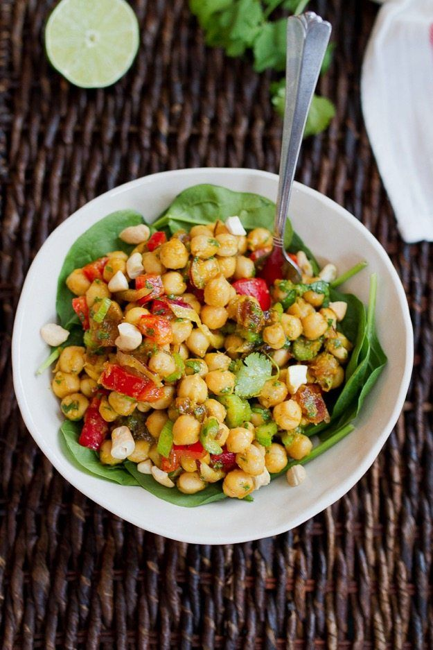 Curried Chickpea Salad with red pepper, onion, celery and dates