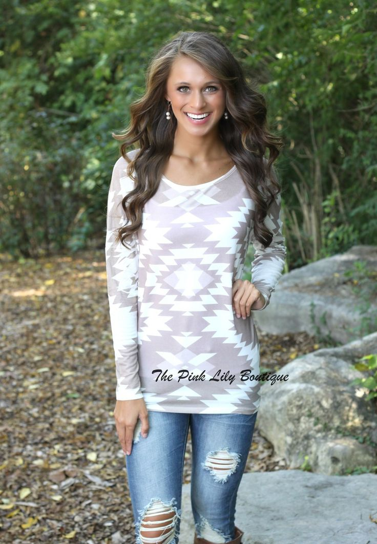 The Pink Lily Boutique - On The Run Aztec Blouse, $34.00 (http://thepinklilyboutique.com/on-the-run-aztec-blouse/)