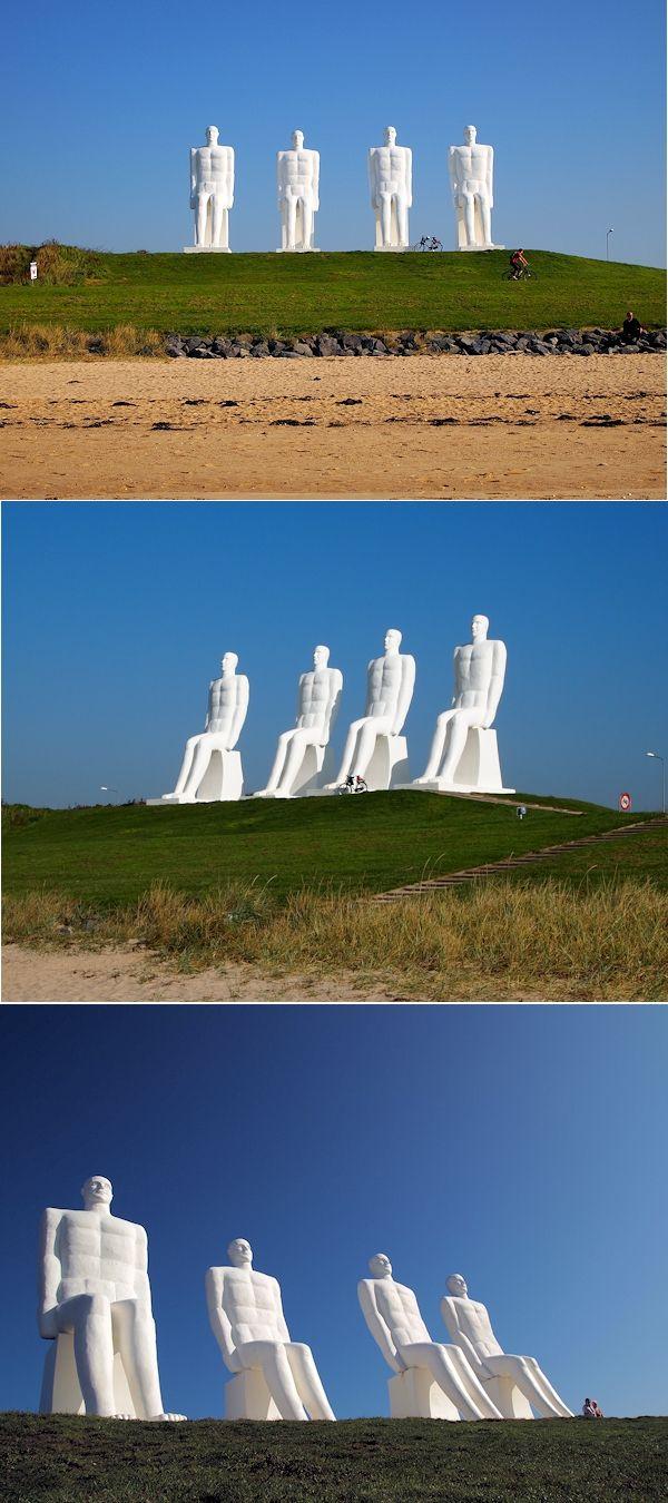 """Skulpturengruppe """"Der Mensch am Meer"""" (Mennesket ved Havet) im Hafen von Esbjerg an der Nordsee, Dänemark, Südjütland, Jütland."""