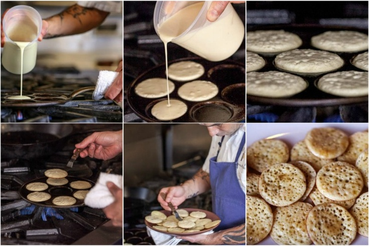 The Moroccan Kitchen: Beghrirs (pancakes cooked on one side, nooks fill with butter and honey)