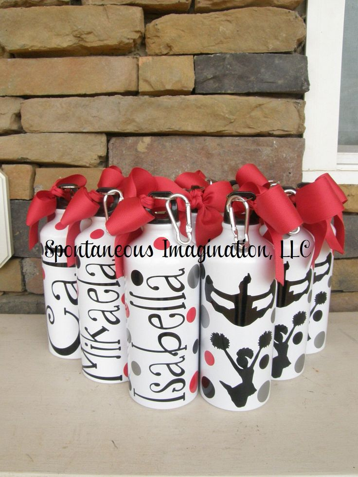 Cheer Water Bottles, Cheerleading Water Bottles, Cheer Gifts, Cheerleading Gifts, Bulk Water Bottles, Custom Water Bottles, Set of 15 by IMAGINATIONandBEYOND on Etsy https://www.etsy.com/listing/181769468/cheer-water-bottles-cheerleading-water