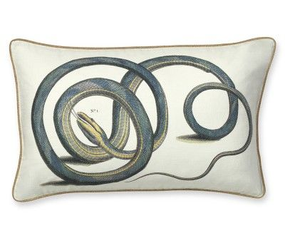 Printed Snake Pillow Cover--this type of pattern would counterbalance your ikat blue chair fabric.. #williamssonoma....on sale now for a few days. I like this pillow for interest in the living room, with a feather insert it presents well. Cover: $79.99 + $20 insert, 16x26 (regular cover price $149!) Actually I like this pillow for me--its very cool : ]