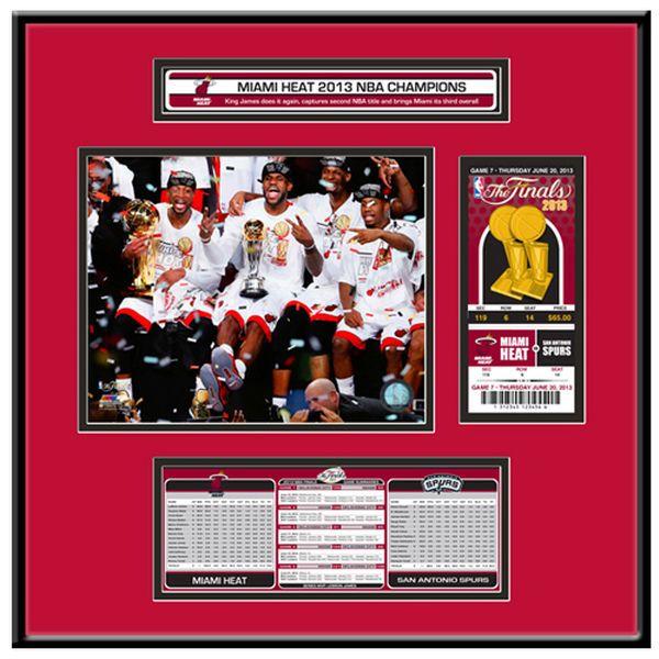 Miami Heat 2013 NBA Finals Champions 18'' x 18'' Jr. Commemorative Ticket Framed Display