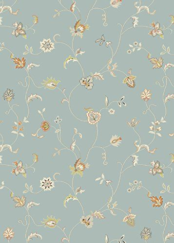 Teppich Wohnzimmer Carpet Modernes Design XICO FLORAL BLUMEN RUG 100 Polypropylen 200x290 Cm Rechteckig Blau