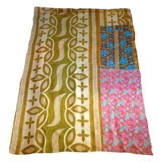 Vintage Indian Sari Kantha Throw
