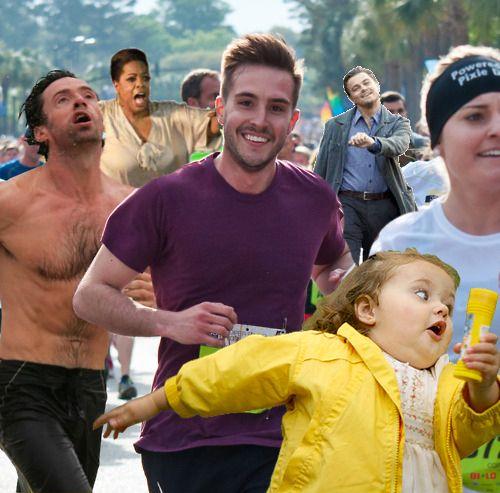 me and @Jasmine Bedolla running lol: Picture, Giggle, Marathons, Funny Stuff, Humor, Funnies, Things, Meme Marathon