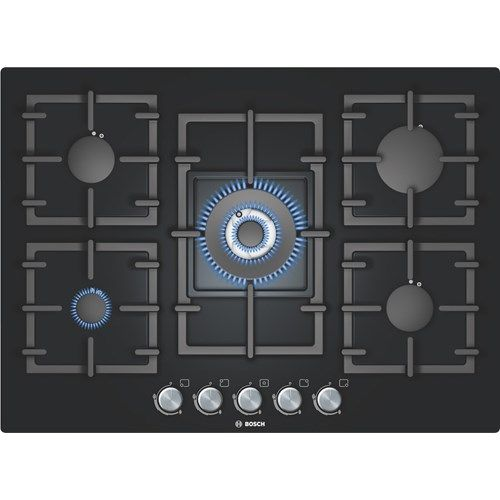 Bosch PPQ716B91E Avantixx Glass Base 71cm Gas Hob in Black | Appliances Direct