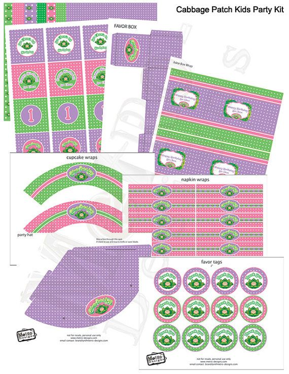 Cabbage Patch Kids Deluxe Party Kit  Digital Files by MetroEvents, $26.98