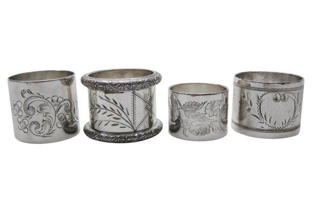 Victorian Napkin Rings, S/4