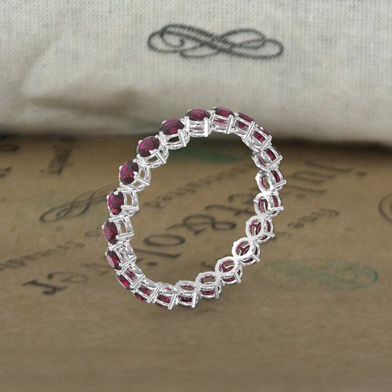 14k white gold eternity garnet wedding ring by julietandoliver - Garnet Wedding Ring