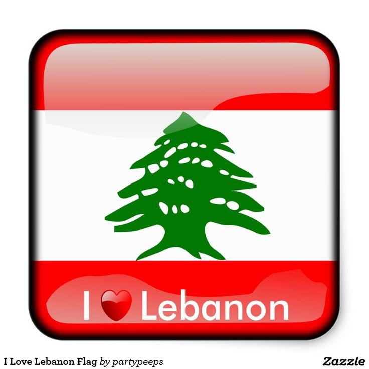 I Love Lebanon Flag Square Sticker