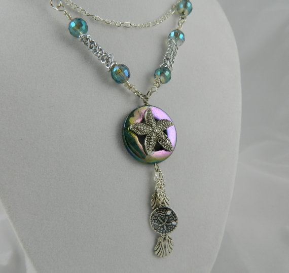 women's necklace nautical starfish and shells  by 3SisterzJewelry, $25.00