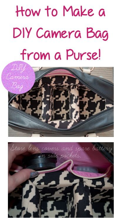 How to make a DIY Camera Bag from a purse! {such a cute way to store your cameras on your next vacation or photography shoot!} #bags #tips   TheFrugalGirls.com