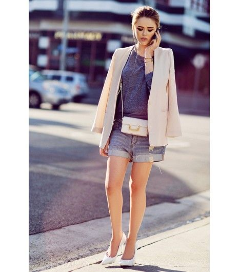 @Who What Wear - Boyfriend-Fit Jeans Shorts + Structured Blazer  Get The Look: Current/Elliott The Boyfriend Rolled Shorts ($178) in Loved; Theory Essential Checklist Jacket ($415)   Image via Kristina Bazan of Kayture