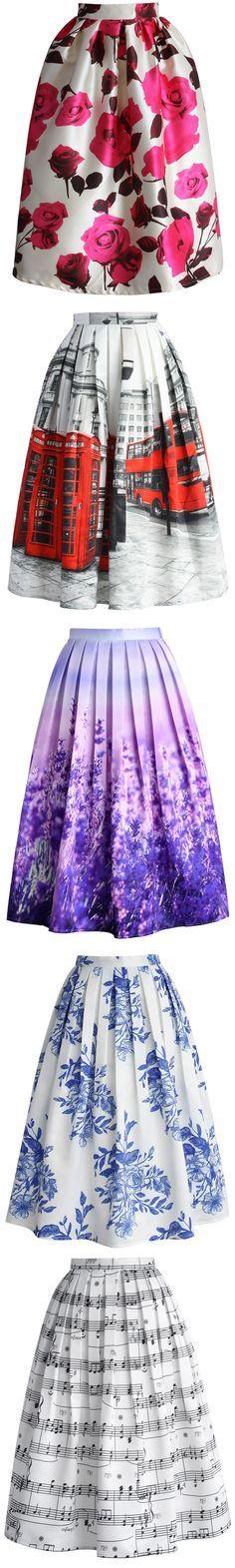 floral skirt, scenic print midi skirt collection