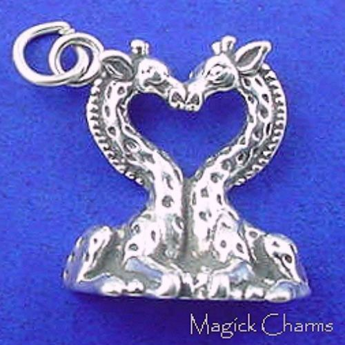 KISSING GIRAFFE HEART Valentine .925 Sterling by magickcharms, $19.95