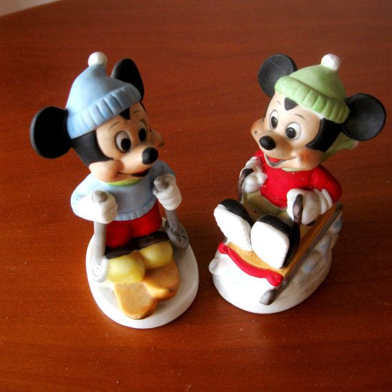 Vintage Mickey Mouse Figurines Walt Disney Sled Skier Porcelain 1970s on Etsy, $18.00