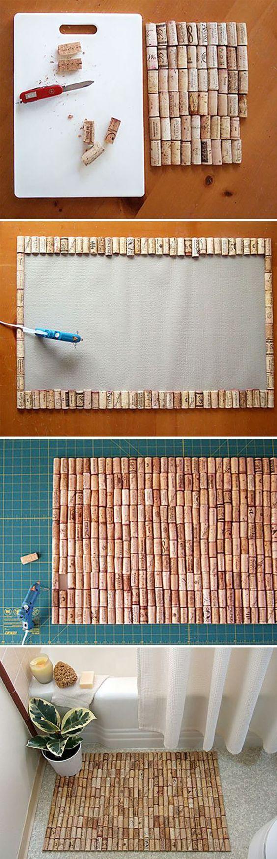 Easy Wine Cork Craft Ideas for the Home – DIY Wine Cork Bathmat – DIY Projects
