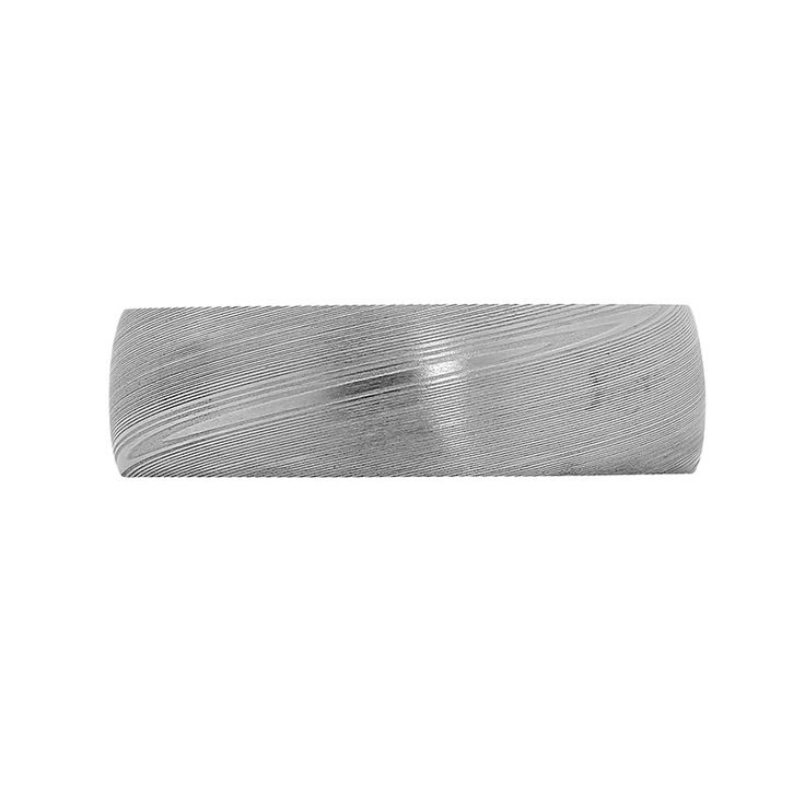Damascus Steel Collection // Rohan Jewellery // A straight Damascus steel ring with a white gold sleeve.