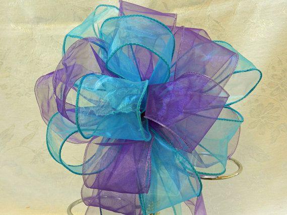 Wedding/ Pew Bows set of 10 Regency Purple and Teal
