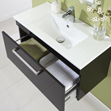 Hudson reed black wood quartet basin and cabinet vanity for Black bathroom drawers
