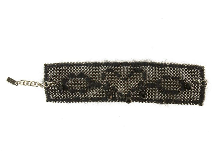 Moschino Beaded Mesh Black Wide Bracelet w. Woven Heart and Beads | swapshop.gr