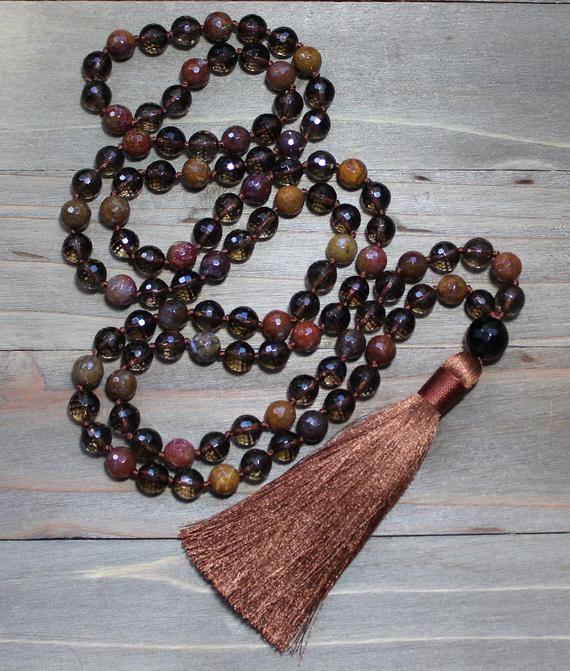 Yoga Meditation Beads Yoga Beads Necklace Mala Beads 108 Meditation Gift Yoga Meditation Smoky Quartz Necklace Buddhist Mala Beads Mala Bead Necklace Yoga Beads Necklaces Meditation Gifts