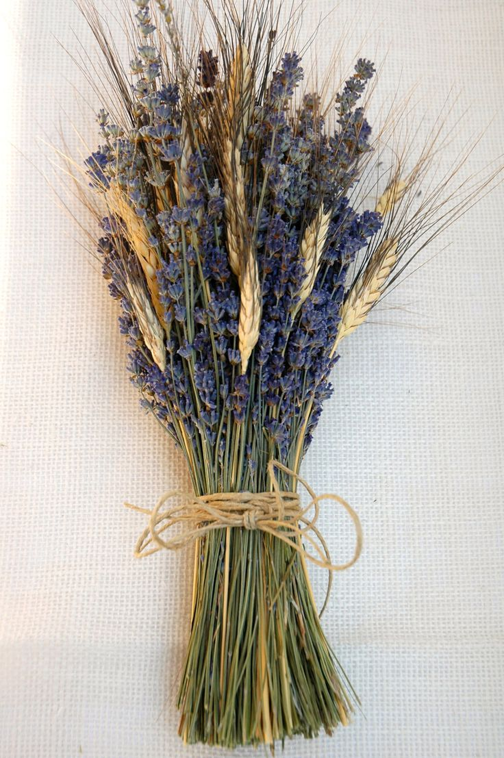 One Simple Lavender and Wheat Bouquet - In case we can't find big white blooms. To be used in centerpieces