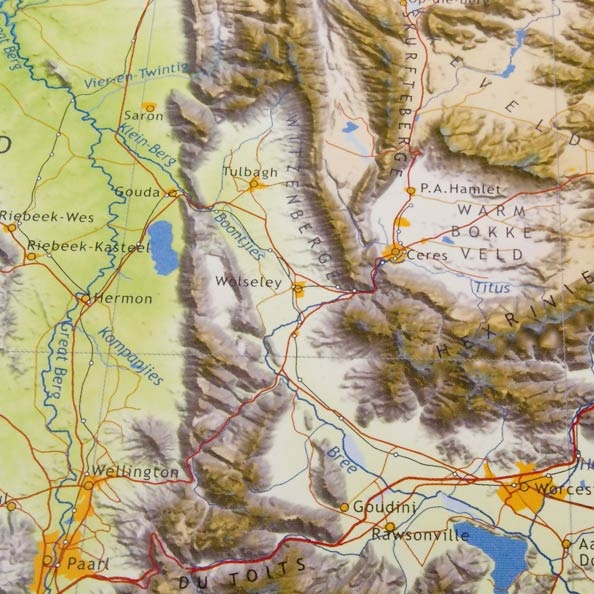 Detail from Cape West map: hills filled with rock art and rock pools - Ceres, TulbaghWorcester, Paarl