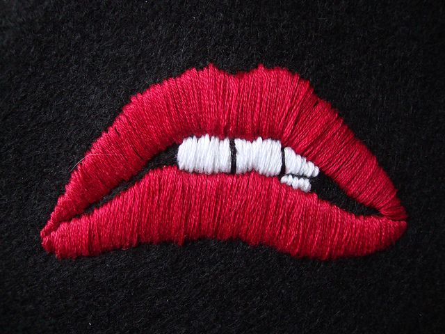 Embroidery of the lips from the Rocky Horror Picture Show