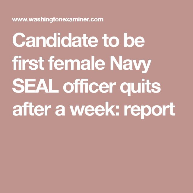 Candidate to be first female Navy SEAL officer quits after a week: report
