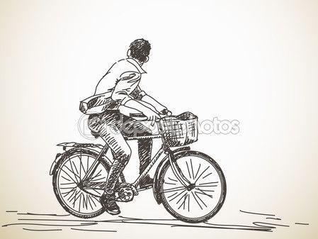 Велосипедист, оглядываясь назад — стоковая иллюстрация #67736533
