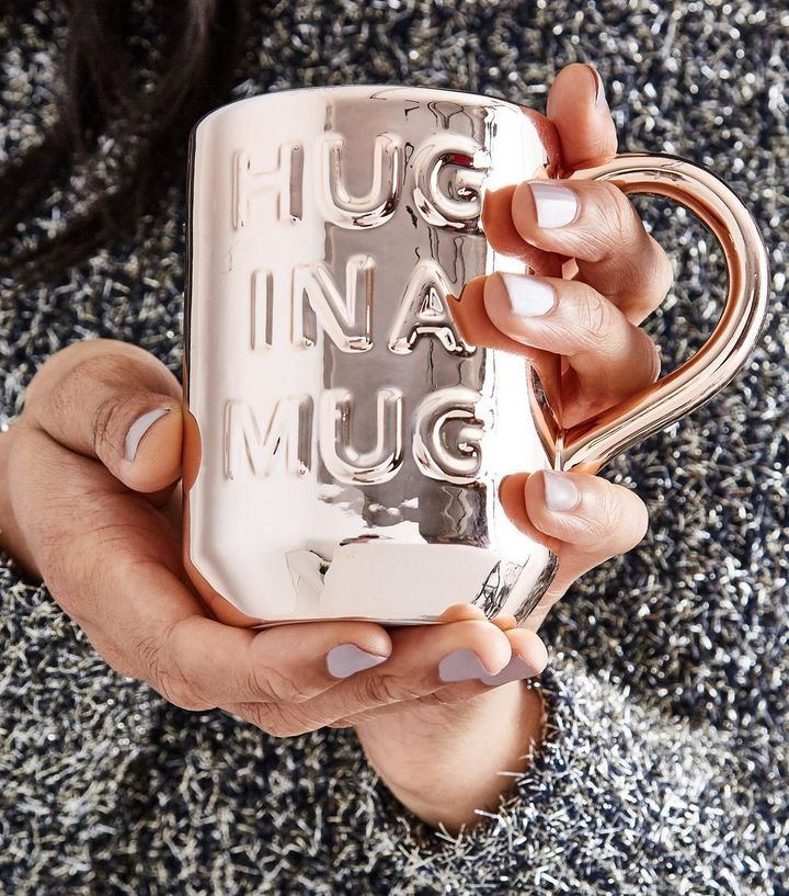 Rose Gold Hug Slogan Mug | New Look
