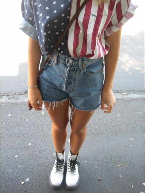 America top, cut shorts, white shiny dr martens