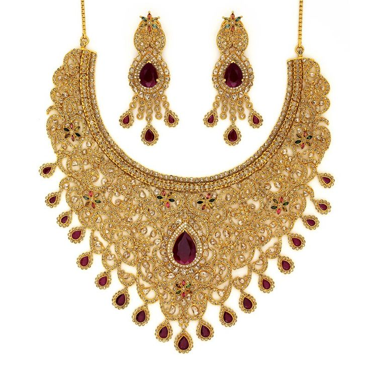 Bridal Gold Necklace With Ruby Sets