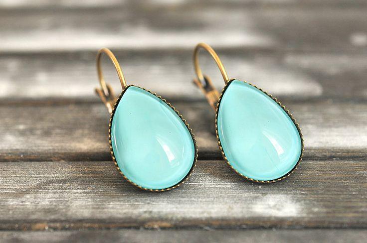 Mint green earrings, drop dangle earrings from Some Magic by DaWanda.com