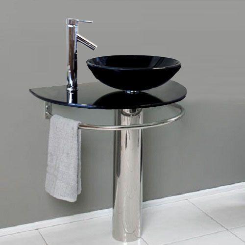 Bathroom Pedestal Tempered Black Glass Vessel Sink