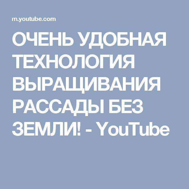ОЧЕНЬ УДОБНАЯ ТЕХНОЛОГИЯ ВЫРАЩИВАНИЯ РАССАДЫ БЕЗ ЗЕМЛИ! - YouTube