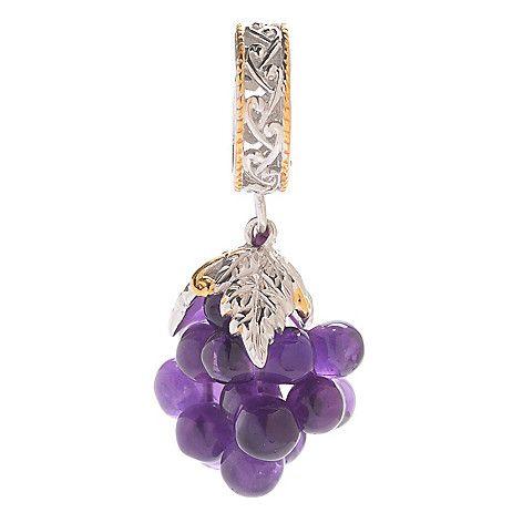 143-442 - Gems en Vogue 7.10ctw Amethyst Grape Cluster Slide-on Drop Charm