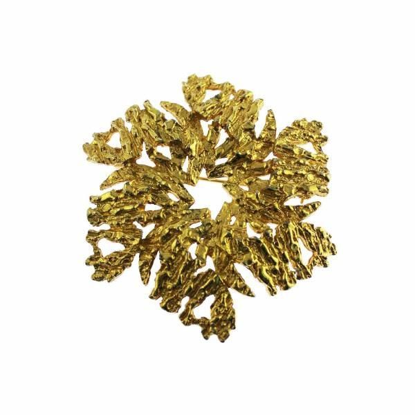 Large Gold Nugget Circle Brooch