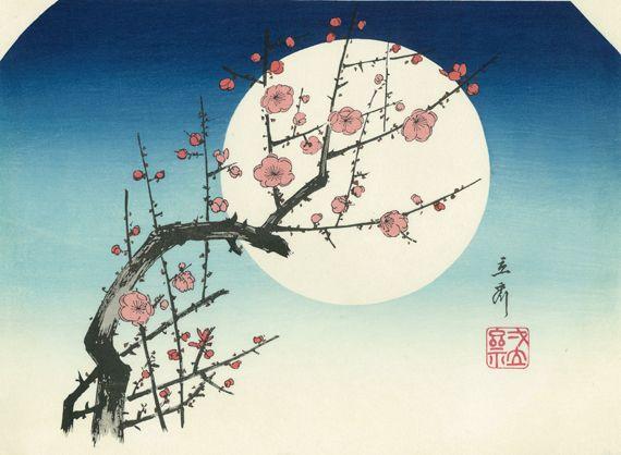 月夜の紅梅 --歌川広重